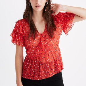 [NWT] Madewell Tiered-Sleeve Peplum Top in Red